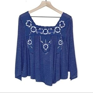 Free People Floral Embroidered Blue Peasant Top